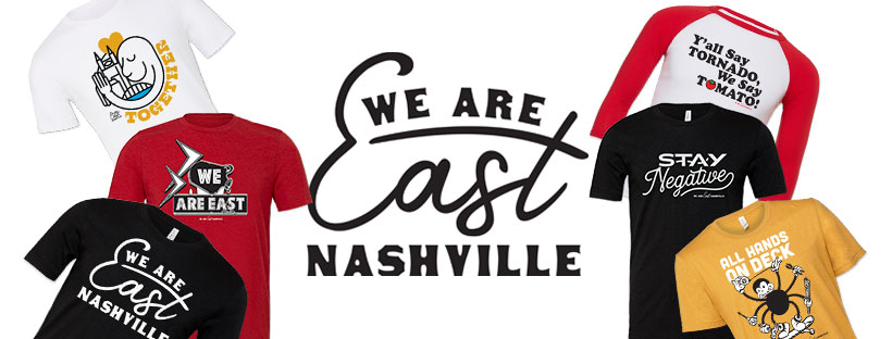 We Are East Nashville Logo with T-shirts